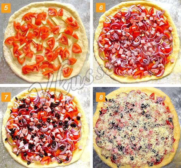 Пицца с колбасой и сыром на дрожжевом тесте