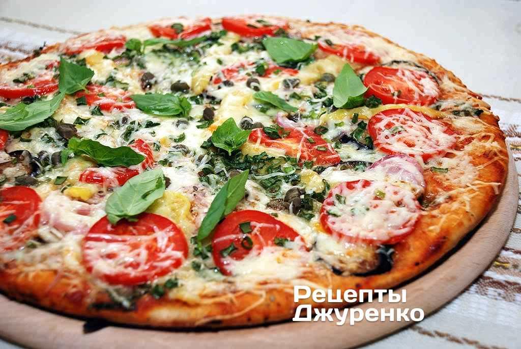 Пицца с баклажанами, перцем, томатным соусом и сыром - рецепты джуренко