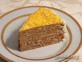Блинный торт из печени с начинкой