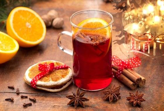 Безалкогольный глинтвейн -рецепты на вишневом, апельсиновом, яблочном и клюквенном соке.