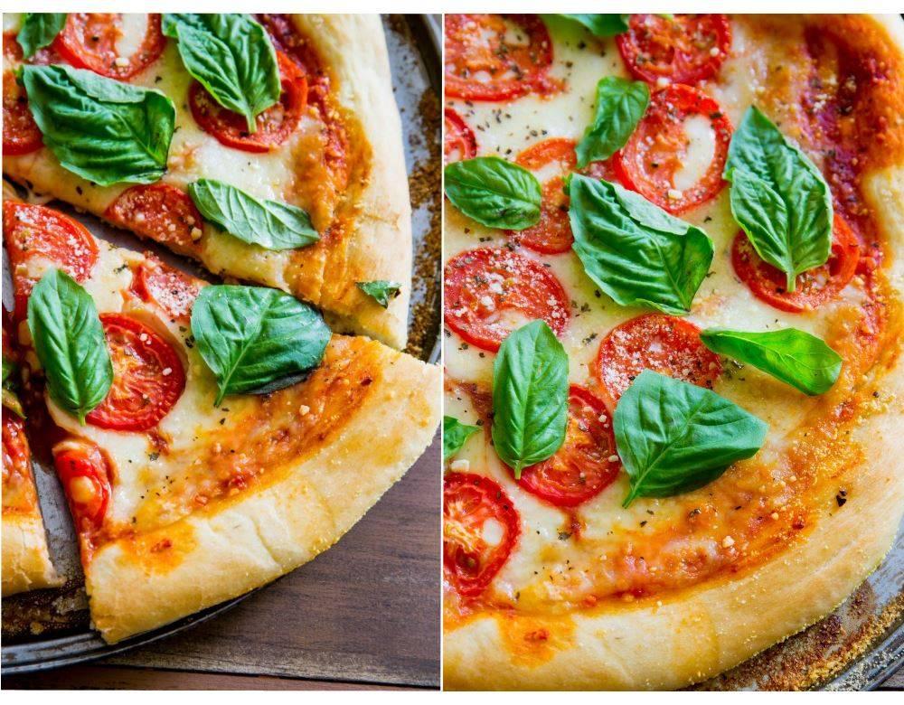 Вкусная пицца маргарита на тонком тесте