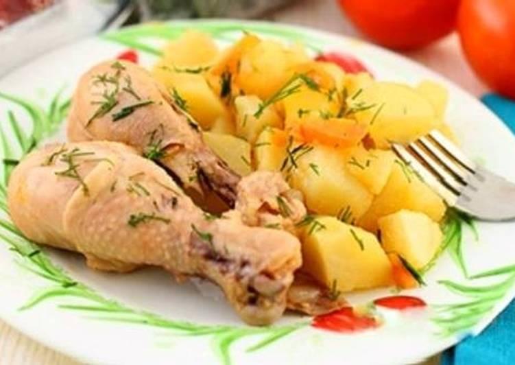 Вкусный тушеный картофель с курицей