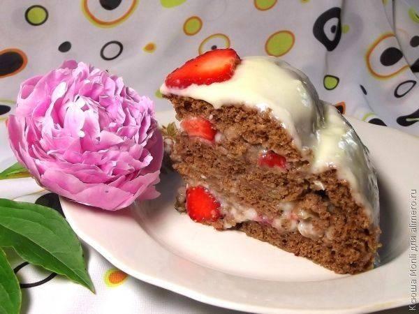"""Домашний шоколадный торт с клубникой """"Шаркламэ"""""""