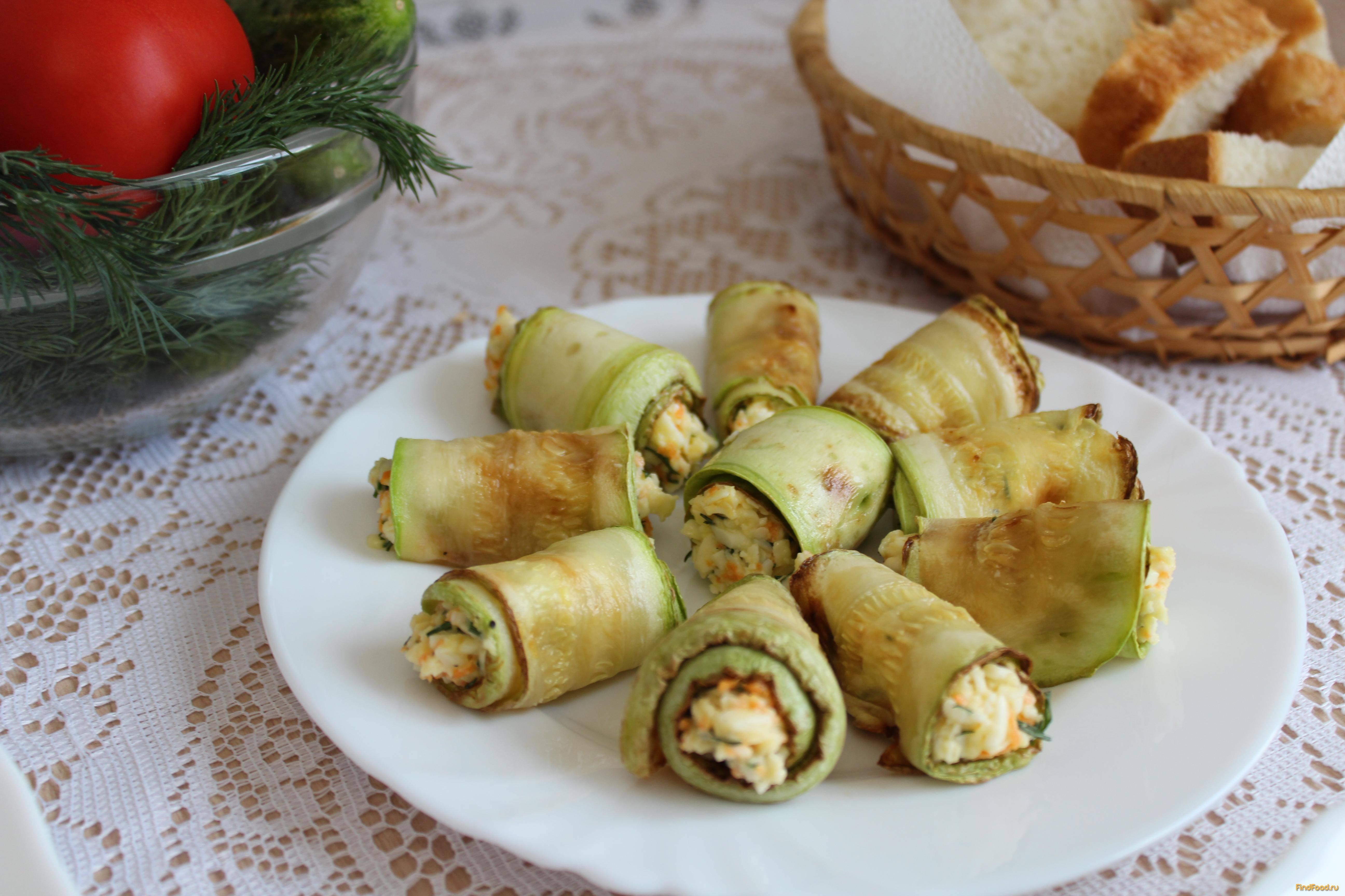 Рецепты рулетиков из кабачков с разными начинками