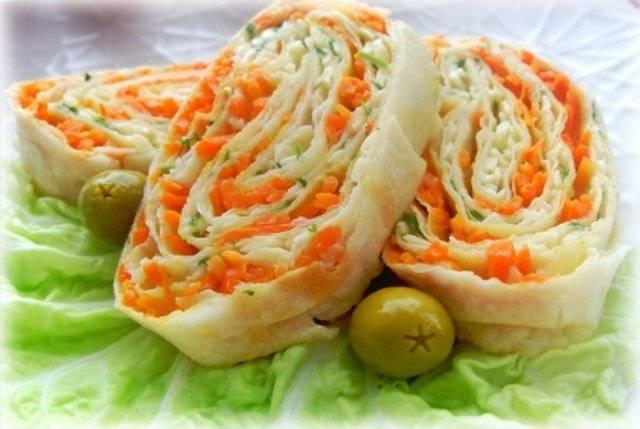 Лаваш с корейской морковкой: рецепты приготовления рулетов