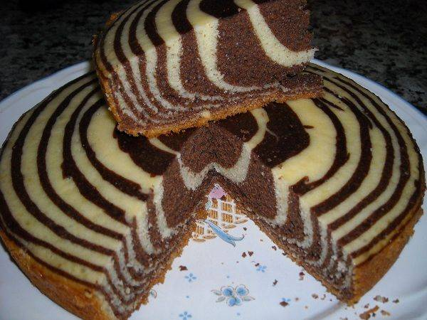 """Торт """"зебра"""" со сметанным кремом"""