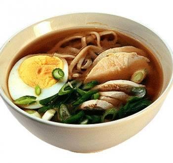 Суп с лапшой и курицей тори удон