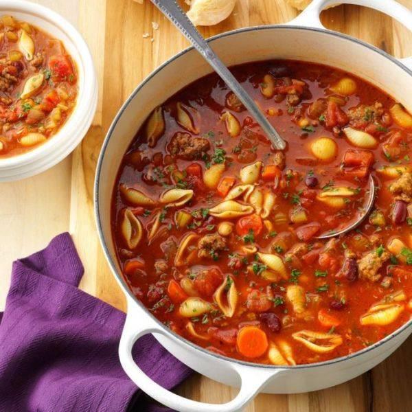 Итальянский фасолевый суп с пастой
