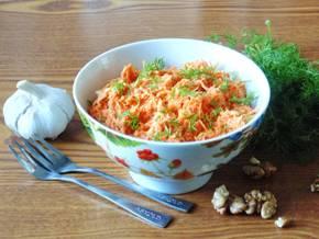 Салат из грецкого ореха моркови сметаны чеснока и яйца