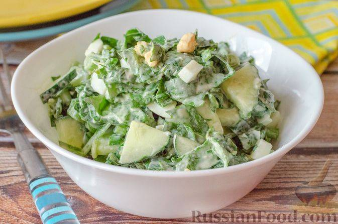 Пошаговые рецепты салата из свежего шпината