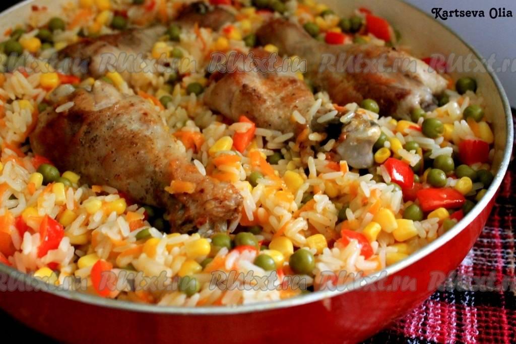 Куриные бедрышки с рисом в духовке