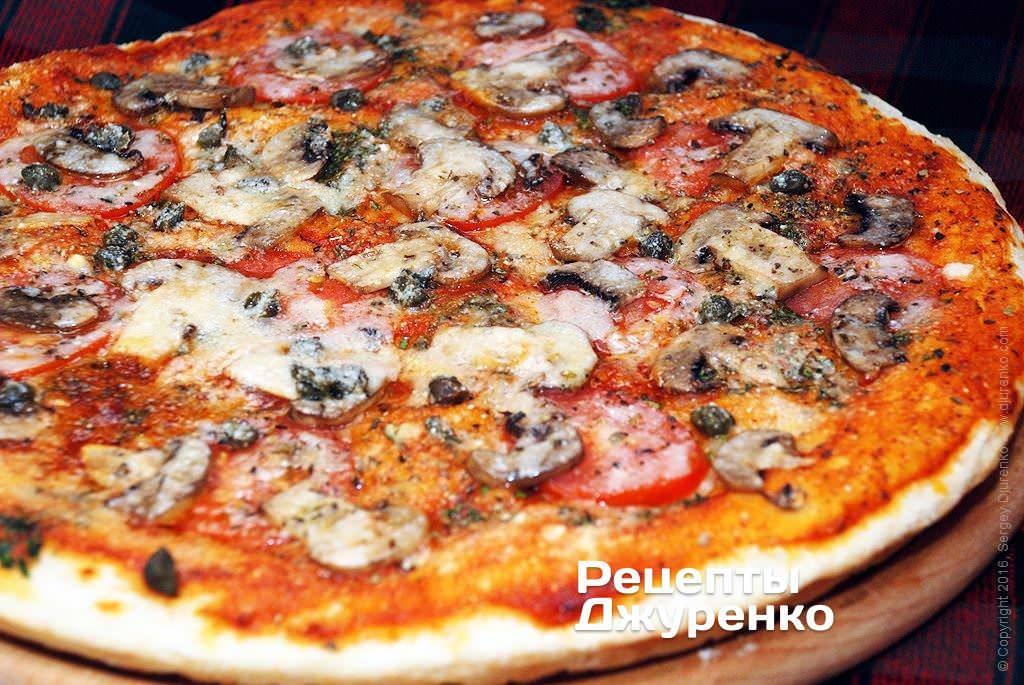 Пицца с грибами — начинка с вешенками и томатами - рецепты джуренко