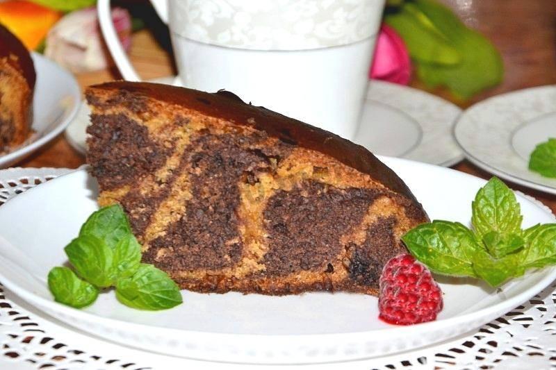 Пирог «зебра» на сметане - лучшие рецепты вкусной, красивой выпечки