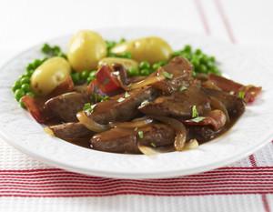 Печень говяжья с луком и грибами рецепт с фото по шагам