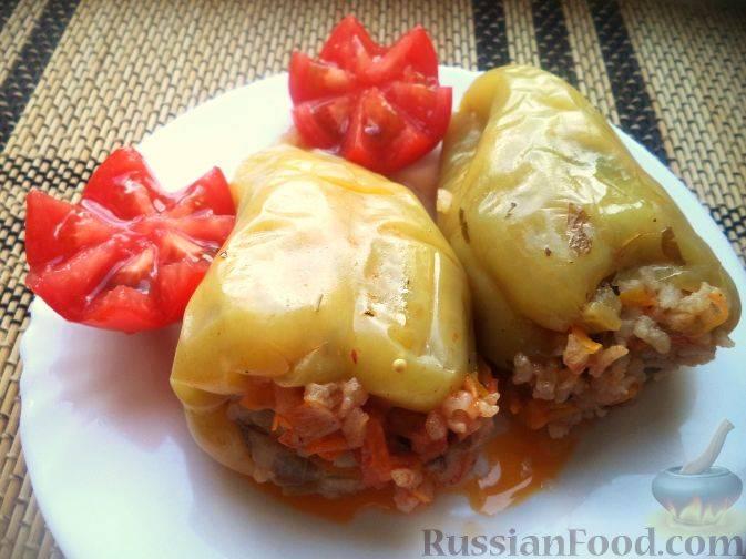 Перец фаршированный рисом и баклажанами рецепт с фото