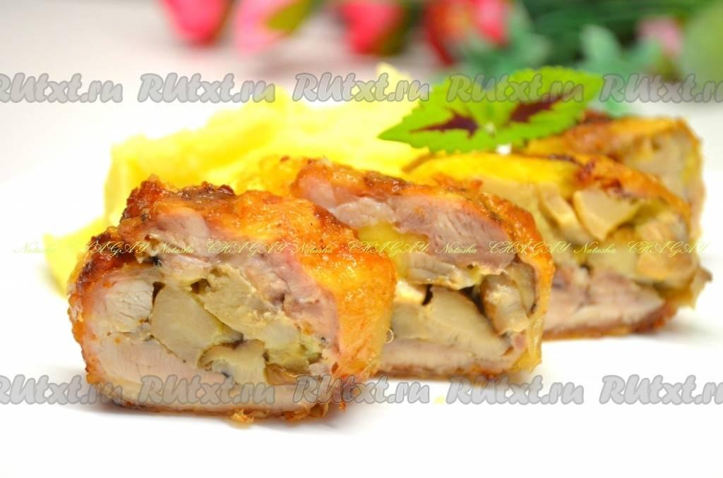 Постный картофельный рулет с грибами