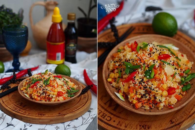 Дикий рис с чесночным соусом