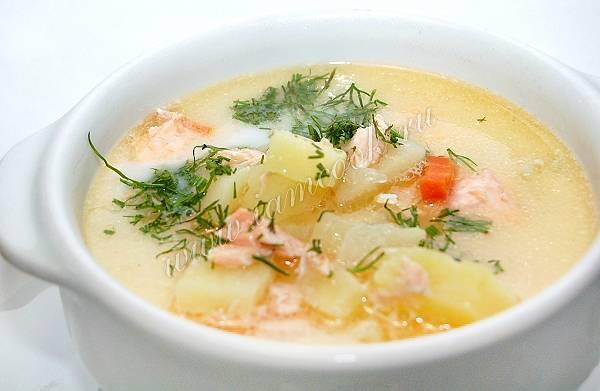 Cливочный суп с семгой