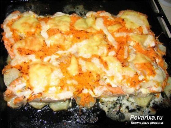 Форель в духовке запеченная с картофелем и помидорами