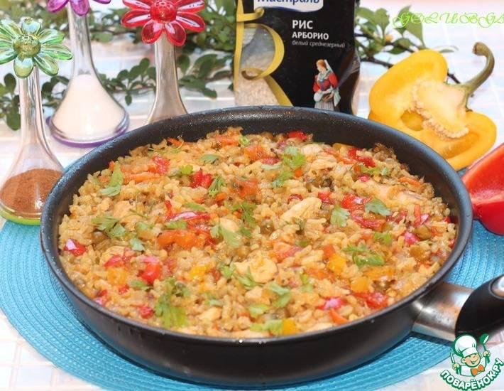 Рецепт овощной паэльи с филе курицы