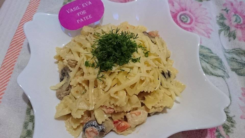 Фарфалле с курицей и грибами - пошаговый рецепт с фото на сайте банк поваров