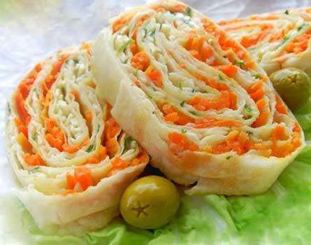 Рулет из лаваша с корейской морковью - лучшие рецепты самой быстрой закуски!