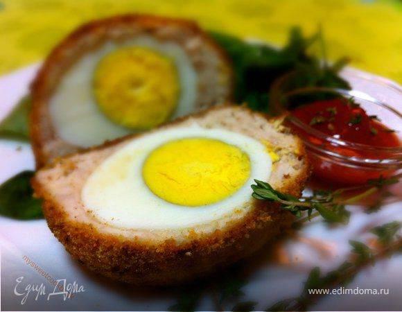 Куриные фрикадельки с яйцом