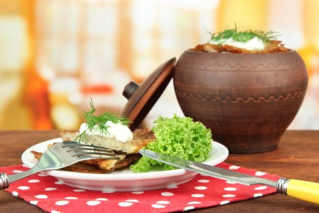 Постные картофельные драники с грибами