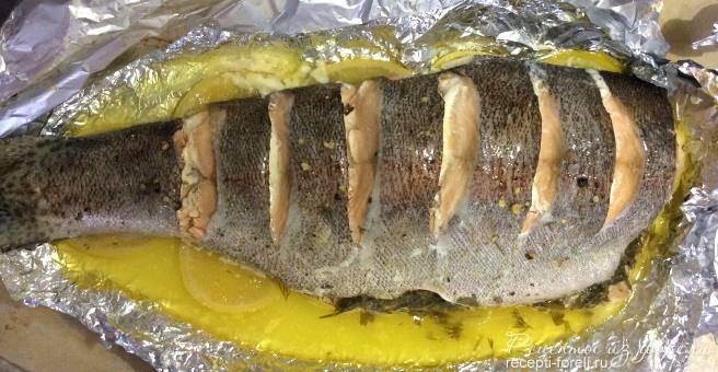 Форель в фольге в духовке - рецепты запекания с картошкой, в сливочном соусе, стейков, филе и рыбы целиком