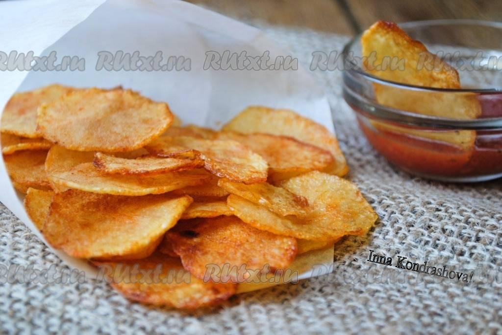 Чипсы из картошки в микроволновке – с маслом, бульоном, на шпажках и из кожуры