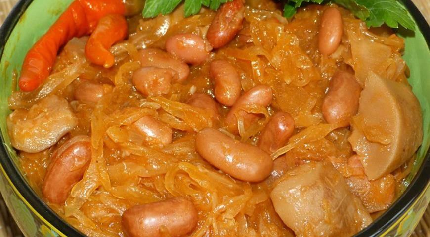 Рецепты фасоль тушеная с грибами