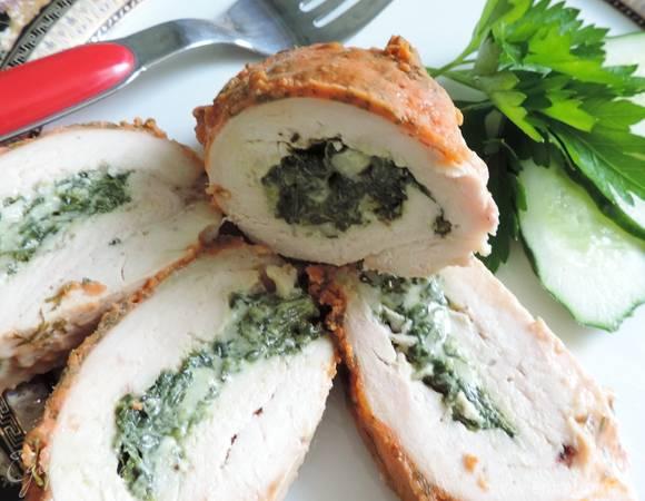 Куриная грудка с грибами и шпинатом - рецепт с фотографиями - patee. рецепты