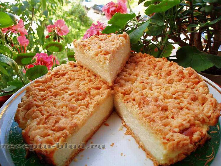 Пошаговый рецепт творожного пирога с крошкой