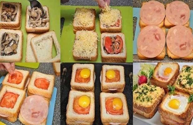 Яйцо в помидоре, фаршированном сыром и ветчиной