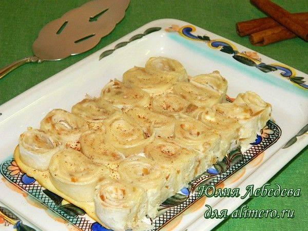 Запеканка из лаваша с сыром и грибами
