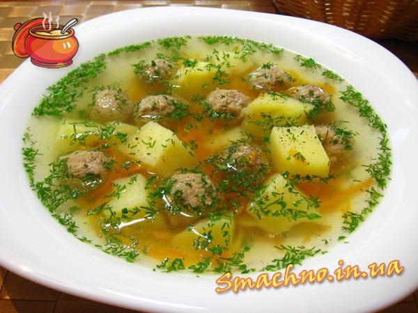 Картофельный суп с фрикаделькам