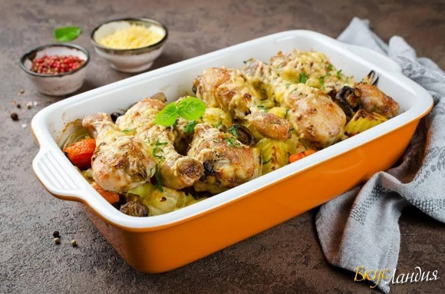 Куриные голени с овощами в мультиварке