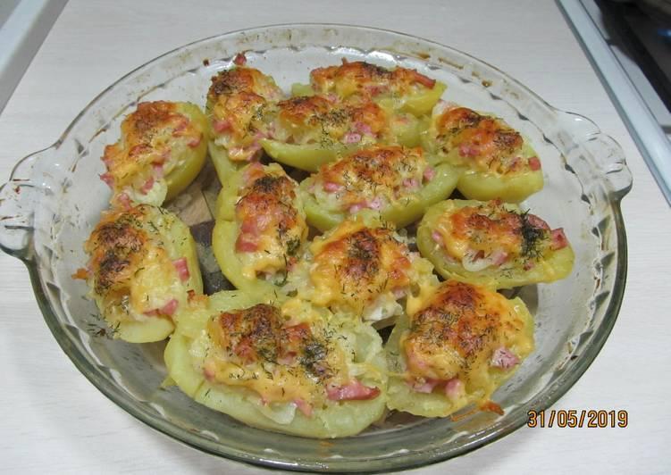 Картофельные лодочки с сыром рецепт с фото