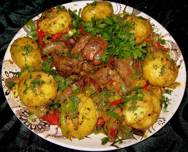 Печень жареная с овощами