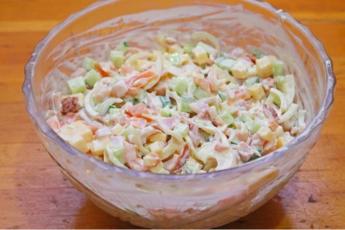 Итальянский салат с макаронами и ветчиной: рецепт с фото