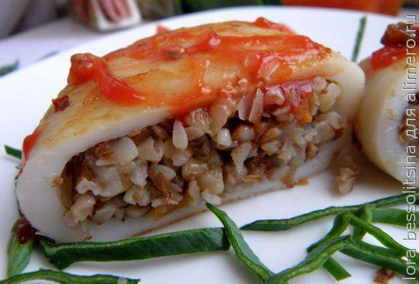 Аппетитные кальмары с оригинальной начинкой
