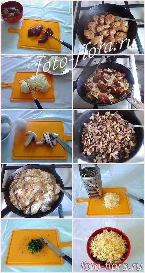 Печень с шампиньонами и луком: подробные рецепты