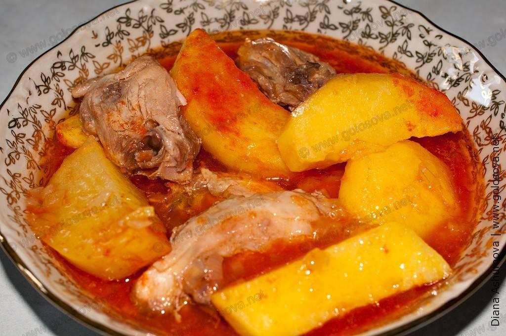 Рецепт тушеной картошки с курицей в кастрюле