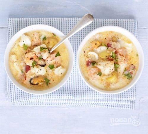 Суп «клэм чаудер» с морепродуктами и рыбой, рецепт с фото