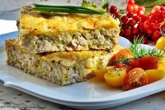 Пирог-запеканка с курицей, грибами и овощами