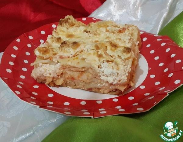 Лазанья с фаршем и сыром «Маскарпоне»