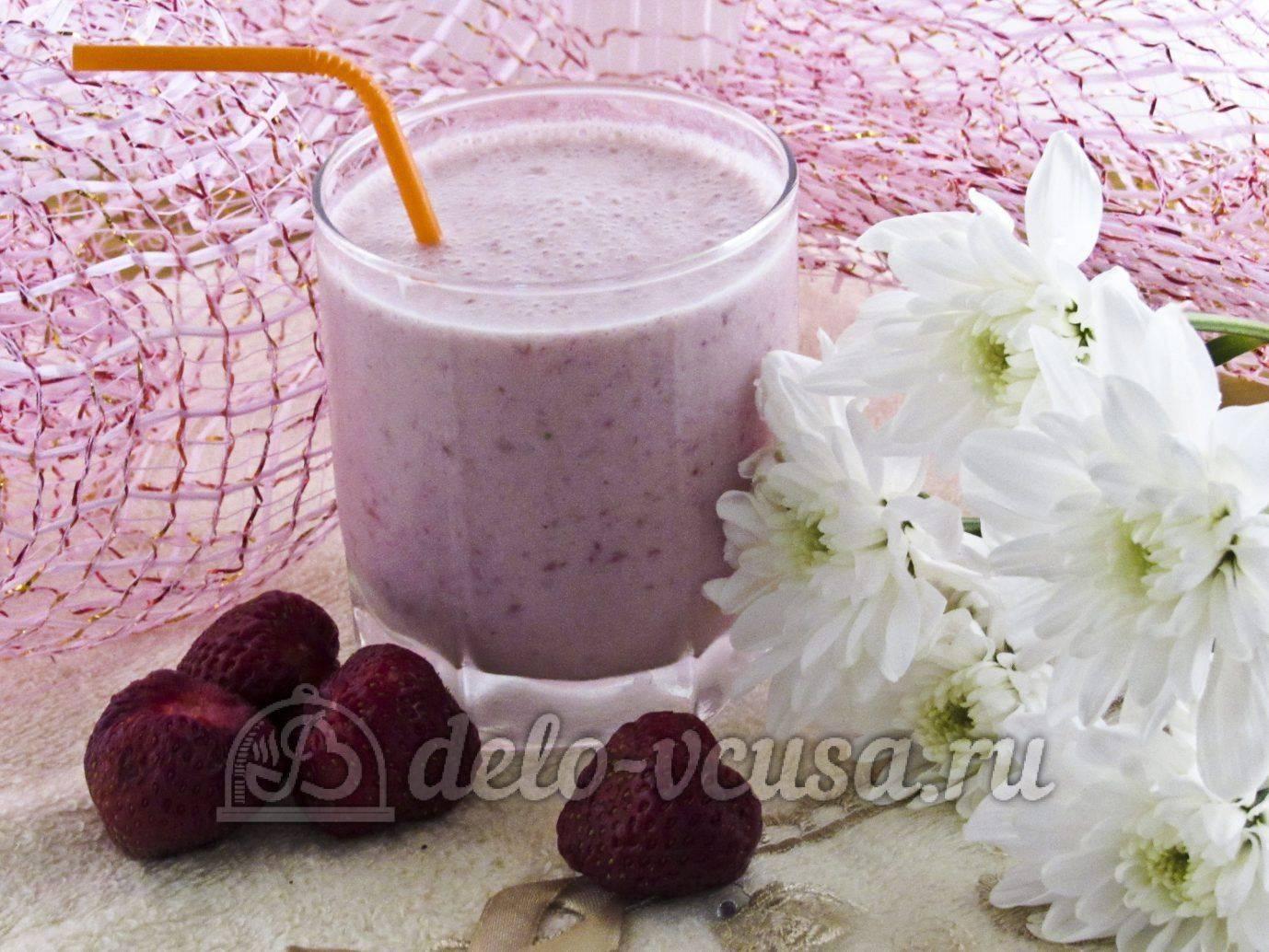 Бананово-клубничный молочный коктейль - 6 пошаговых фото в рецепте