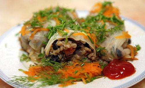 Постные ленивые голубцы с грибами и рисом