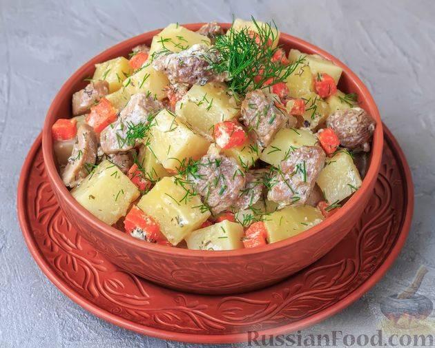 Индейка с овощами в сливочном соусе