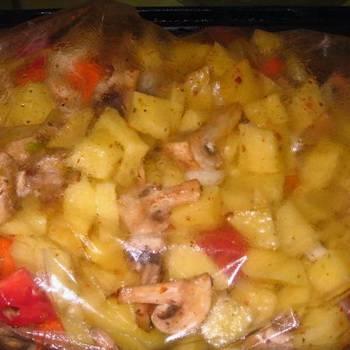 Картошка в микроволновке в целлофановом пакете